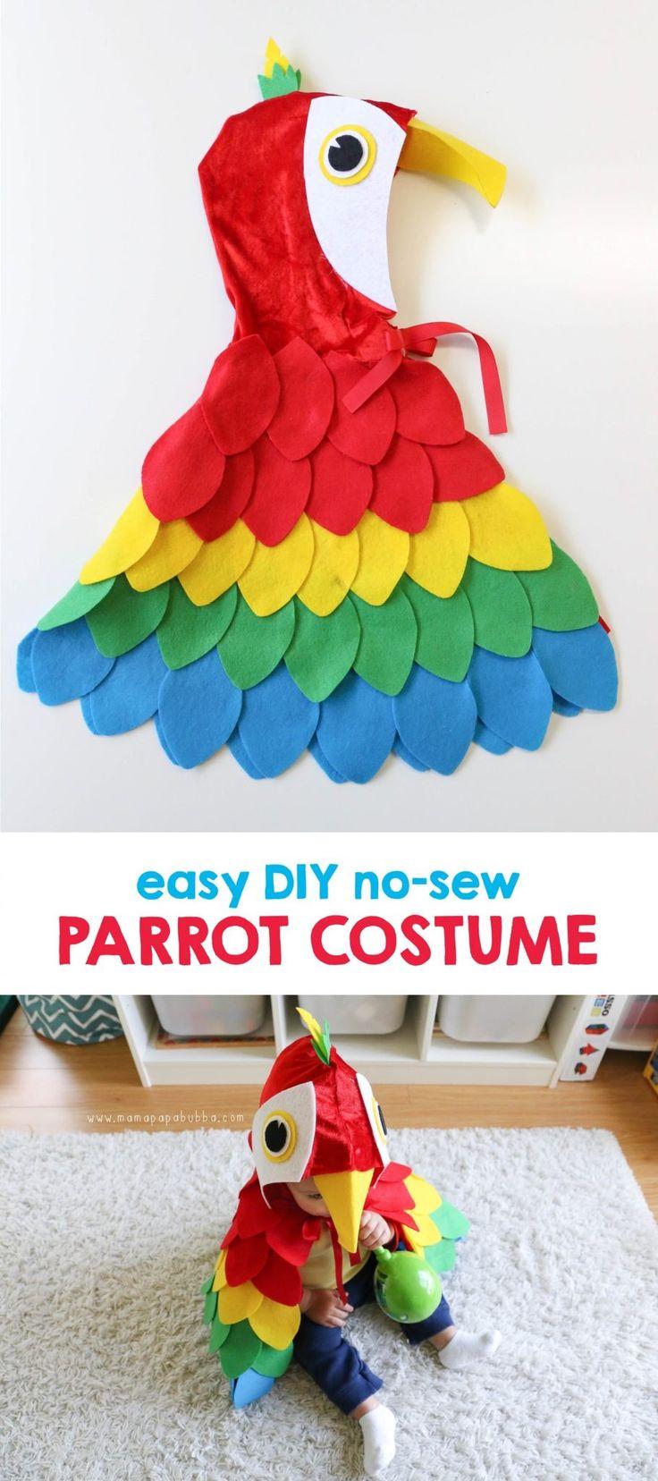 Easy DIY No-Sew Parrot Costume