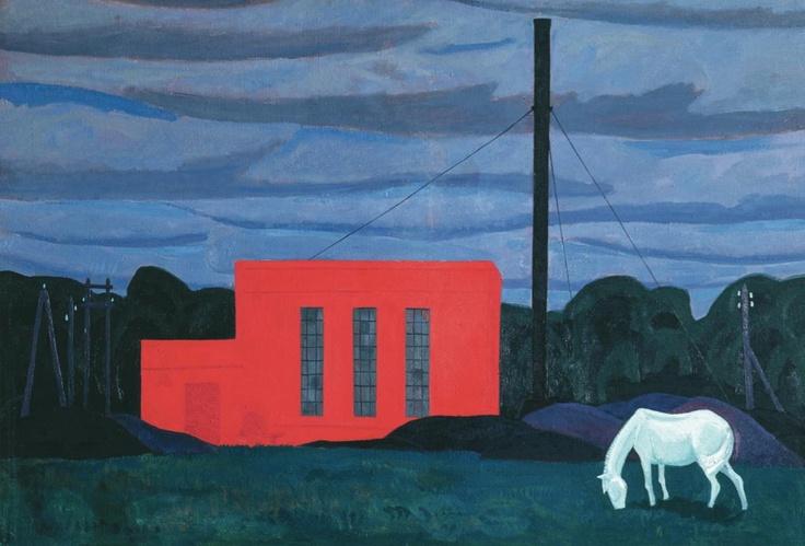 Белая лошадь. 1961г. Холст, масло. 101 х 150 (ВМИИ) Viktor Efimovich Popkov