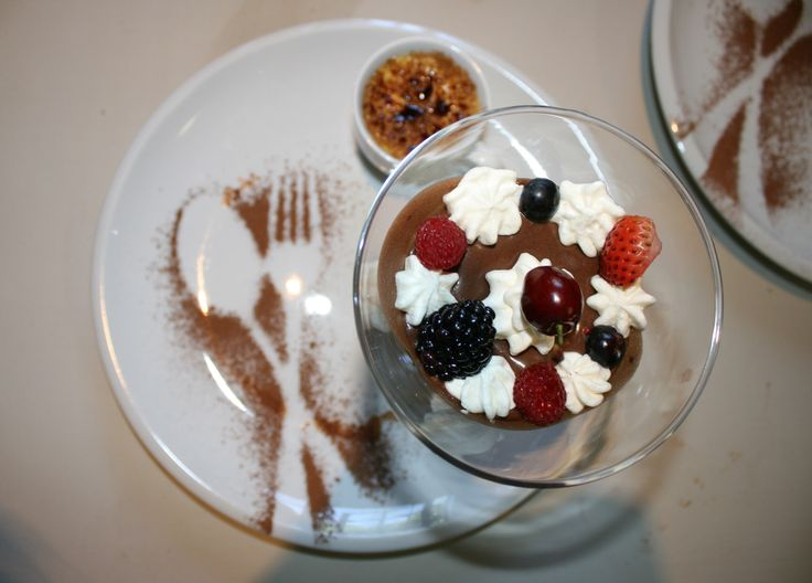 Chocolate moose with whipped cream and mixed berries and creme broulee Monchique Boutique Guest House Muldersdrift
