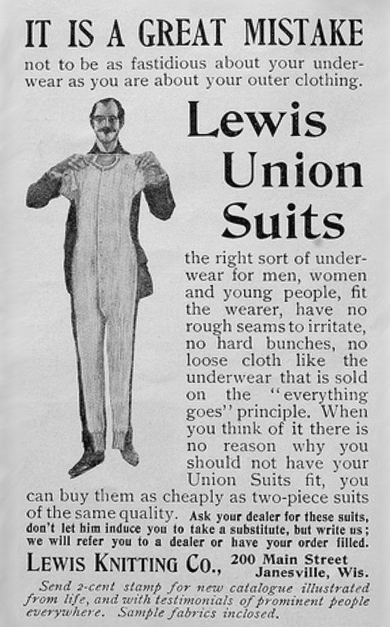 """One-piece, full-length Union Suits are said to have been introduced in 1891. This advertisement dates from 1897. """"Union"""" apparently has something to do with the idea that the top and bottom are joined together in one piece of underwear."""