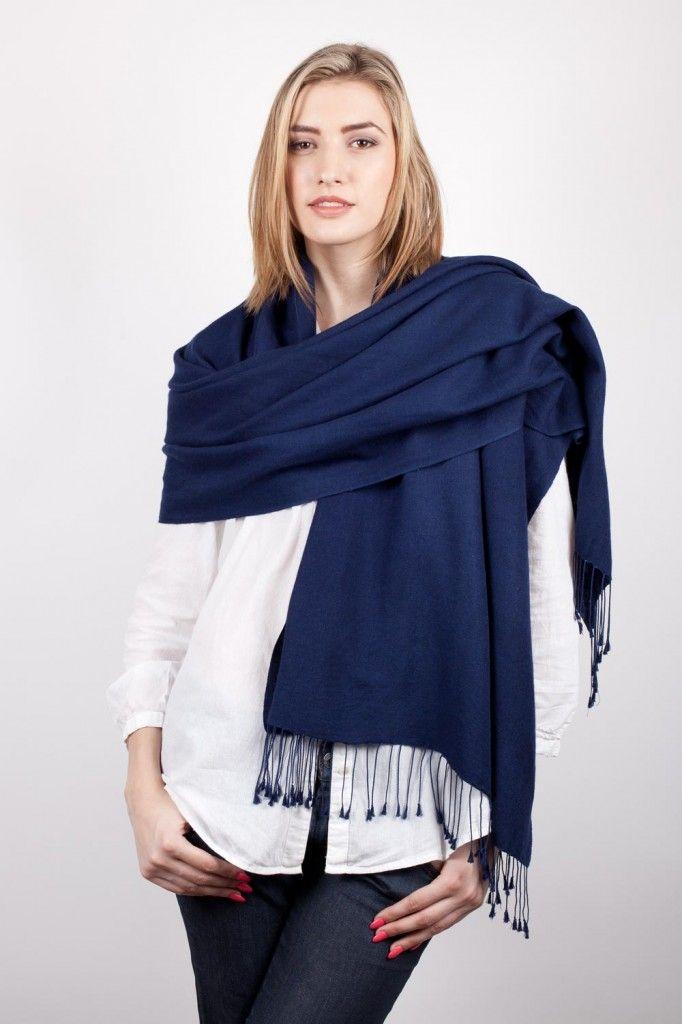 pashmina echarpe bleu