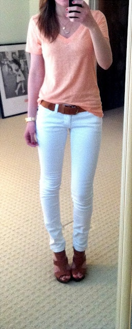 white jeans, neon shirt, and brown wedges. I have this outfit and have never thought of putting it together like this!