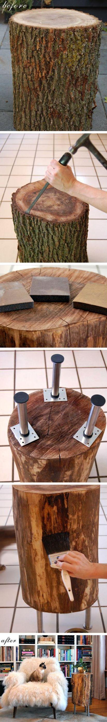 Amoureux de la nature et par le fait même de la déco rustique, voici une bûche modifiée en table basse. À faire soi-même