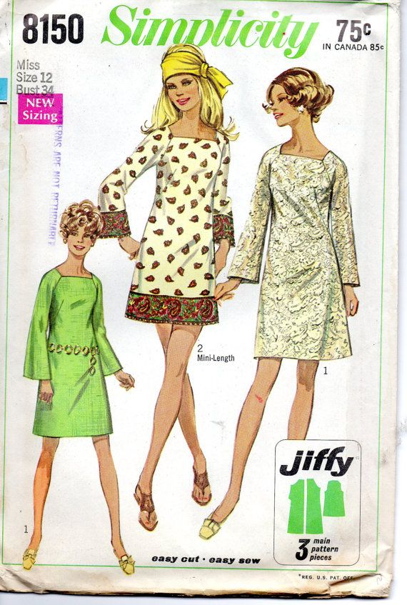 Simplicity 8150 1960s Misses Easy Mini Dress Pattern Bell Sleeves great for border prints womens vintage sewing pattern by mbchills
