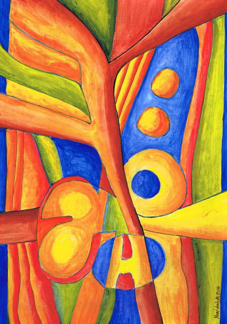 Vitral,  ST, acrílico sobre papel, 29,7 x 42 cm.