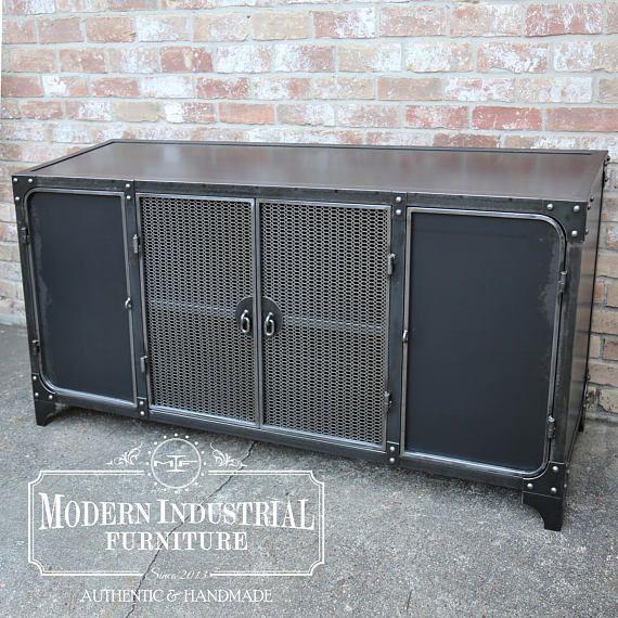 Industrial Liquor Cabinet   Bar Sideboard  Steel Buffet