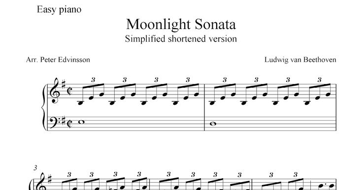 This is a simplified and shortened version of a part of the Moonlight Sonata by Beethoven for easy piano solo. Free printable sheet music ...