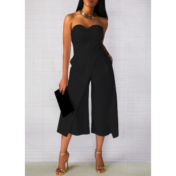 Pocket Strapless Solid Black High Waist Jumpsuit (£26) ❤ liked on Polyvore featuring jumpsuits, black, loose jumpsuit, strapless jumpsuits, sleeved jumpsuit, jump suit and high waisted jumpsuit