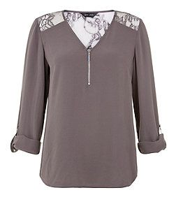 Grey Lace Shoulder Zip Front Roll Sleeve Blouse  | New Look