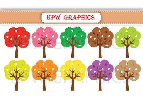 Autumn Fall Trees Brown Green Pink Red Clipart PNG by KPWgraphics