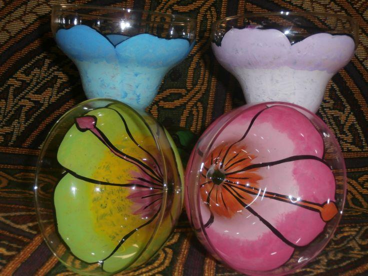 Hand painted pastel hibiscus margaritas. set of 4