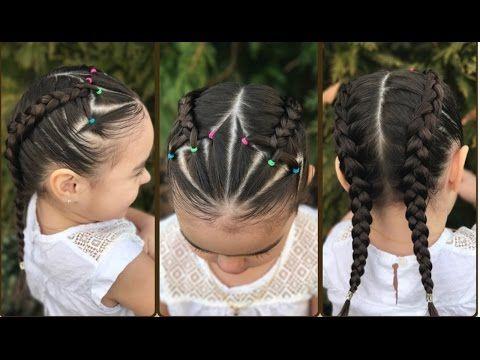 Peinado para niña fácil y rápido de hacer con ligas, trenzas y coleticas LPH - YouTube