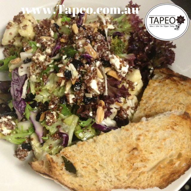 #quinoa #salad with #cauliflower #broccoli & #zesty #orangedressing with #freshlybaked #sourdough at Tapeo: 82 Redfern St, Redfern NSW. Check us out at http://www.Tapeo.com.au & follow us on FB http://FB.com.tapeo.au #Tapeo #tapeocafe #tapeoredfern #tapeosydney #redfern #sydneycafe #sydney #cafe #restaurant #feta #orange #currants #delicious #yummy