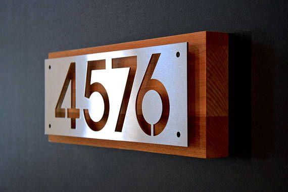 custom stainless steel and cedar house number address plaque heimwerken pinterest. Black Bedroom Furniture Sets. Home Design Ideas
