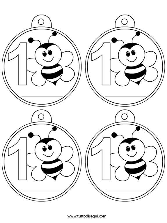 Primo giorno di scuola – Medaglie con ape - TuttoDisegni.com
