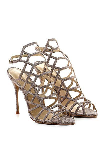 SCHUTZ - Sandalo alto - Donna - Sandalo alto in eco pelle effetto glitter con cinturino su retro e suola in cuoio. Tacco 115. - CIPRIA - € 230.00
