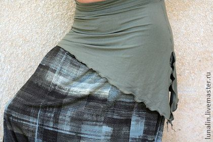 Этническая одежда ручной работы. Ярмарка Мастеров - ручная работа Трикотажный пояс / мини юбка хаки. Handmade.