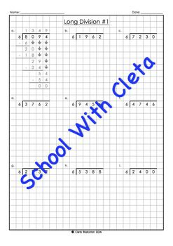 These worksheets are part of a series designed for kids as an introduction to long division worksheets using specific times tables (i.e. 6), which is great for children who may not be confident in knowing all their times tables.Plus the boxes / graph paper helps them reinforce keeping their working out organised and numbers in the correct place value column.Each dividend is 4 digits long and the answers (i.e.