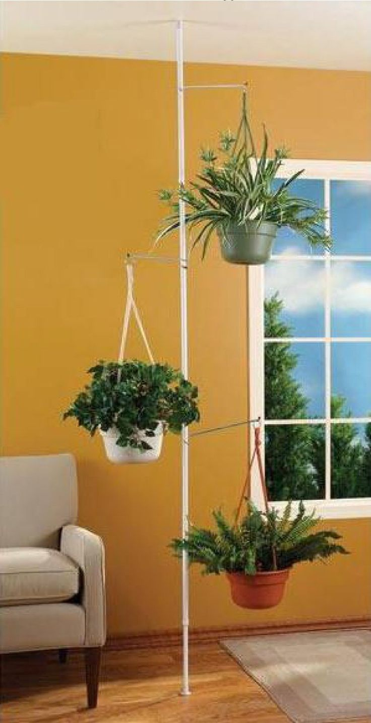 Spring Tension Rod Indoor Plant Pole With 3