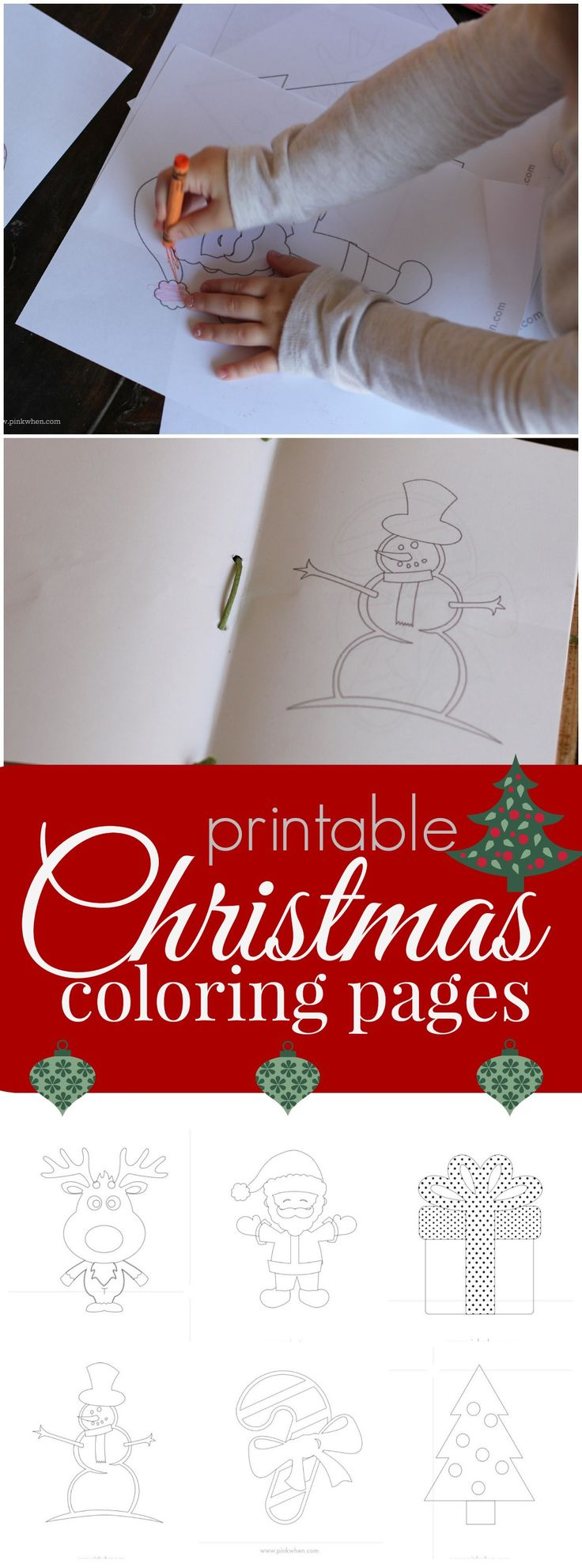 Six super cute and free Printable Christmas coloring pages. (There is also a tutorial on how to make a traveling coloring book with them!)