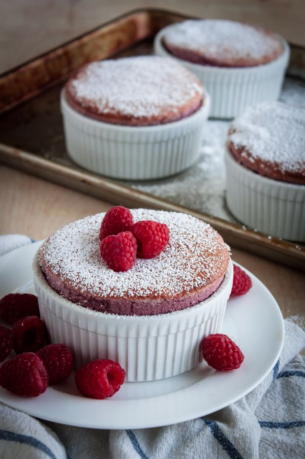 Raspberry Soufflés (gluten free and naturally colored!)