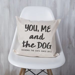 Personalised 'You, Me And The Dog' Cushion - pet-lover