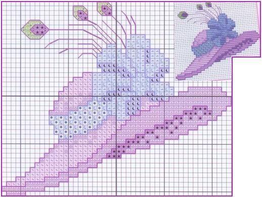 point de croix chapeau lilas et plumes - cross stitch purple hat with feathers