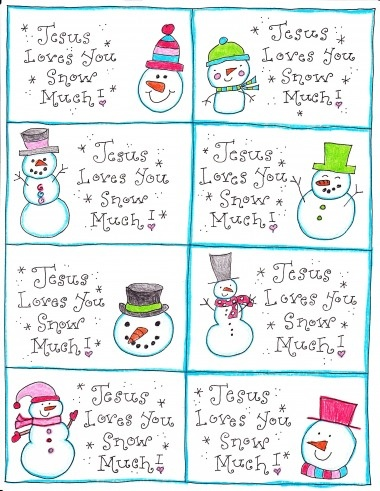 "8 Snowman Cards (download at bottom of post) that say, ""Jesus Loves You Snow Much."""