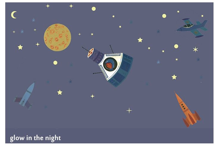 Art for Kids Wandaufkleber 'Raketen im Weltall' nachtleuchtend bei Fantasyroom online kaufen