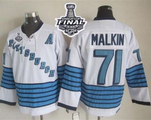 2017 Stanley Cup Final Patch Penguins #71 Evgeni Malkin White Light Blue CCM Throwback Stiched NHL Jerseys Stitched NHL Jersey