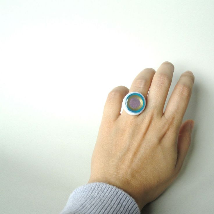 Resin ring, polymer clay ring, acrylic color ring, contemporary ring,  blue white gold, adjustable ring by CloJour on Etsy