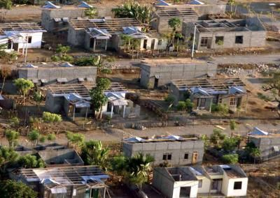 OECUSSI, EAST TIMOR - An aerial view of the East Timor city of Oecussi, also called Ambeno, which shows most houses destroyed October 27, reportedly by rampaging militia in this enclave of 50,000 people on Timor's north coast. Almost the entire population of the enclave fled into the hills or were taken to West Timor. Soldiers in a U.N.-backed multinational force in East Timor said fewer people appeared to have been killed in the enclave of Oecussi than feared. POOL (Reuters)