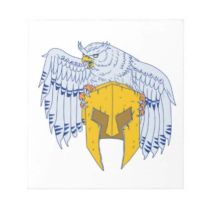 Horned Owl Clutching Spartan Helmet Drawing Notepad - drawing sketch design graphic draw personalize