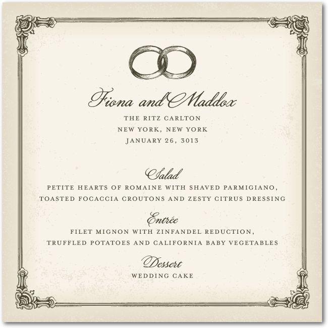 a vintage inspired wedding reception menu card