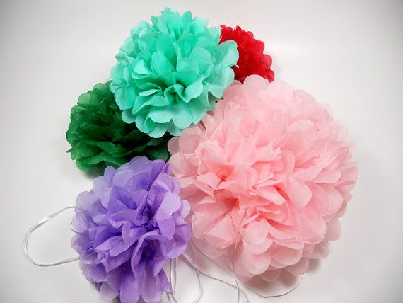 "Birthday Decorations * Tissue Paper Pom Poms * 3 Large Paper Poms  * 14"" * Tissue Poms, PomPom,Tissue Pom Poms,Choose Your Colors Tissue paper pom poms are the perfect way to add a splash of color to your next party! They give any event a special atmosphere, whether it be a wedding, baby or bridal shower, or birthday party!"