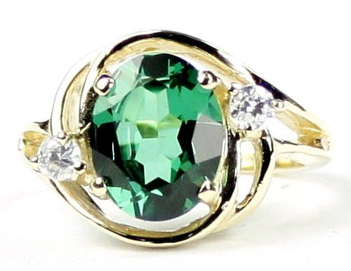 Russian Nanocrystal Emerald 18KY Gold Ring R021