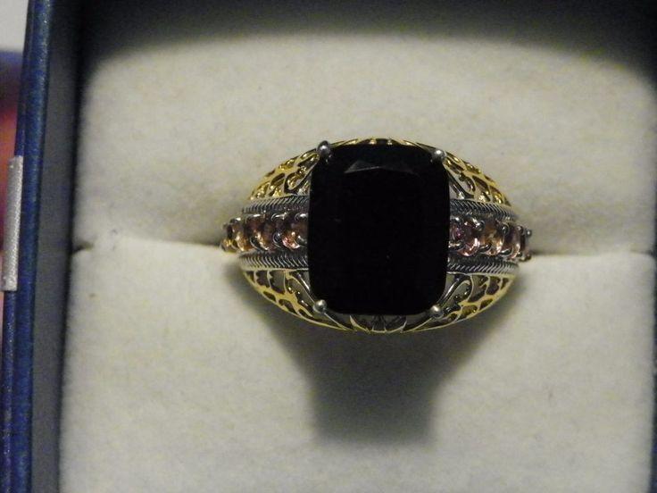 Black Tourmaline & Pink Tourmaline ring(6.16 ct) in 14K YG & Plat/925 sz 9 #Statement