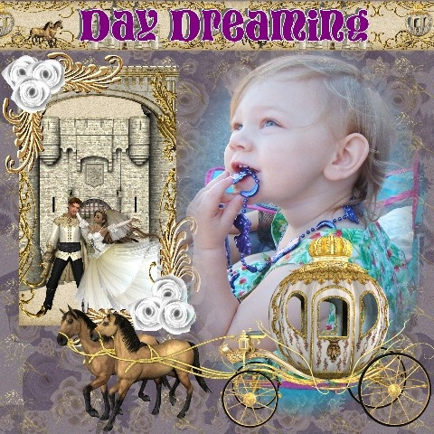 Day Dreaming page for a beautiful princess picture or book, so cute!