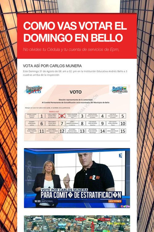 COMO VAS VOTAR EL DOMINGO EN BELLO