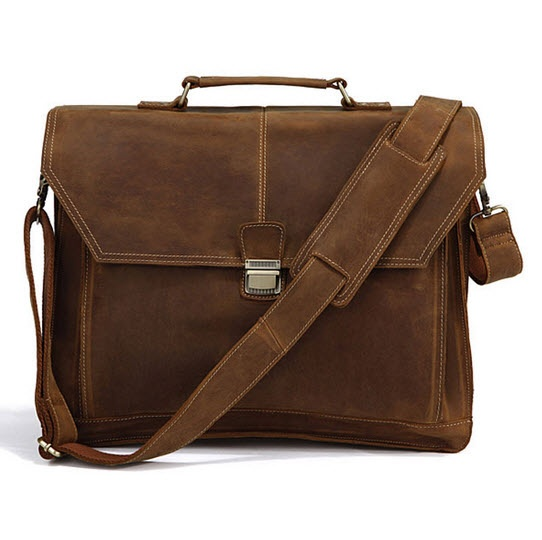 """""""Madrid"""" Crazy Horse Leather Men's Rugged Laptop Briefcase. Has a top handle!"""