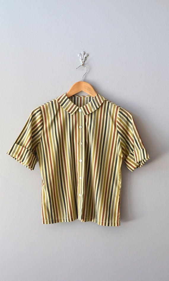 vintage 1950 blouse / peter pan collar top / Tea Stripe blouse