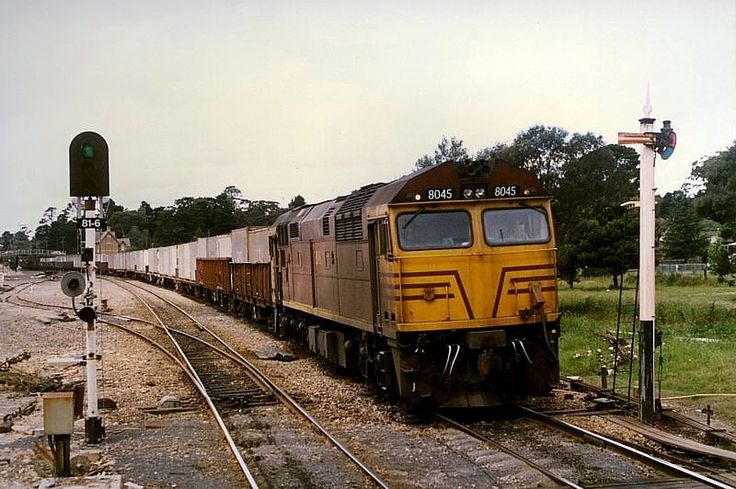 Mittagong 8045 and 30 wagons on a down goods. 3.04pm. 29/12/88.