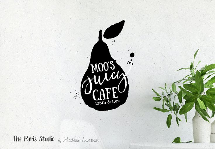 Watercolor Fruits Logo Design - cafe logo, bar and restaurant branding, website logo, boutique logo, creative business branding or small business logo.