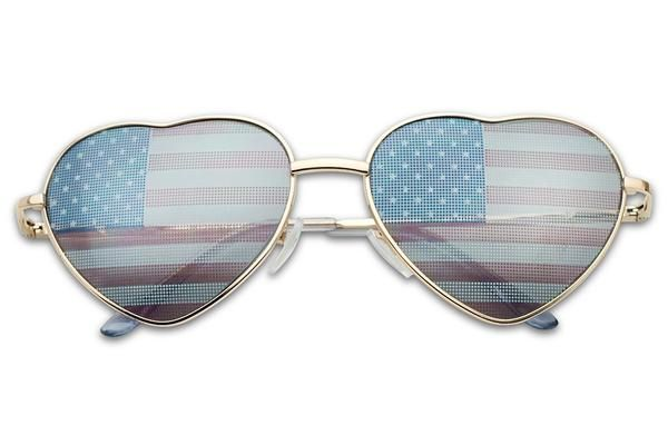 Patrotic American Flag Heart Shaped Sunglasses