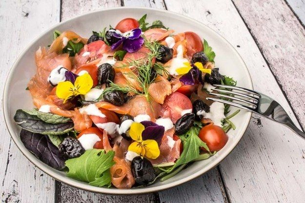 Smoked Salmon Salad | Ingredients:  Smoked salmon salad, Cherry tomatoes, Mixed salad leaves, Black olives and Creamy yogurt dressing.