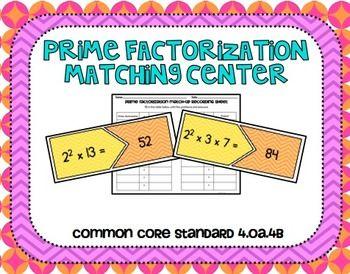 Prime Factorization Matching Center, Common Core Aligned: