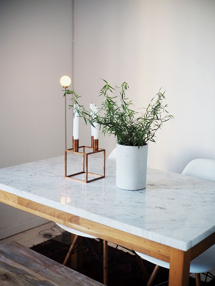 Ingrid Holm home interior BY:LASSEN candle holder Snowball Northern Lighting. Marble table