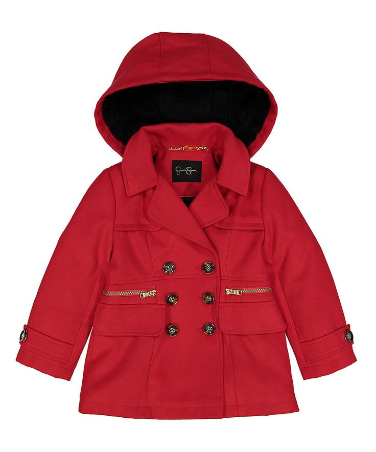 Look at this #zulilyfind! Jessica Simpson Collection Red Pea Coat - Girls by Jessica Simpson Collection #zulilyfinds