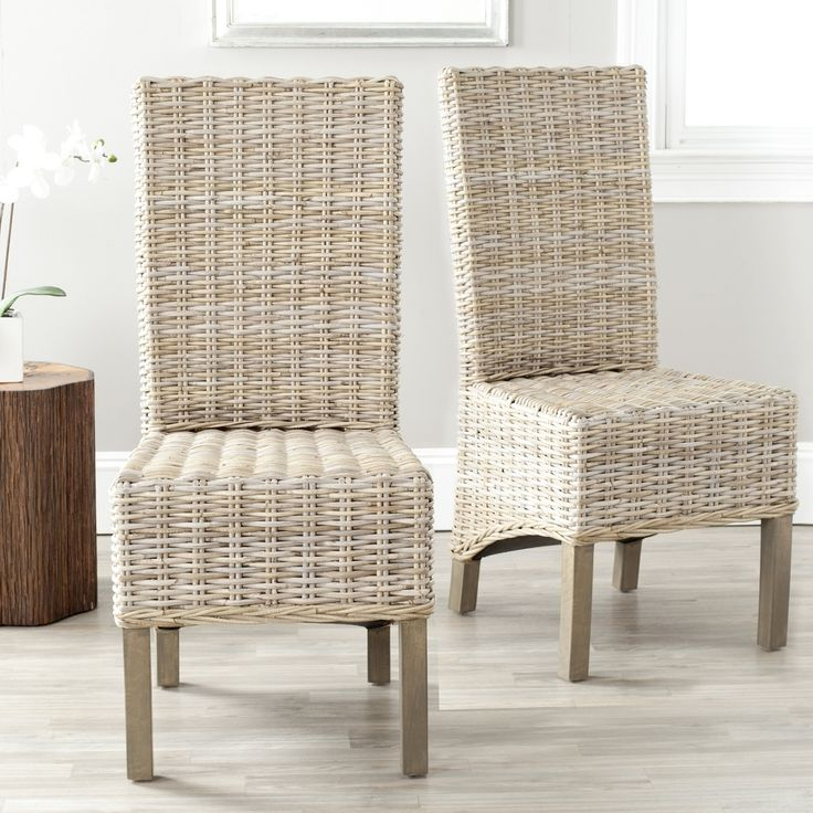 safavieh rural woven dining pembrooke unfinished natural wicker side chairs set of 2 by safavieh