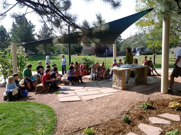 Mrs. Haxton's 3rd graders getting instructions for their fall harvest lesson. (Photo credit: Callie Palen-Lowrie)